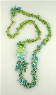 Green Ribbon Bead Necklace