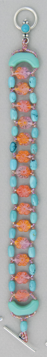 Coral and Turquoise Ladder Bracelet