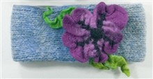 Blue Headband with Purple flower