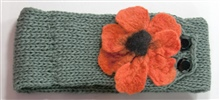 Green Headband with Orange Flower
