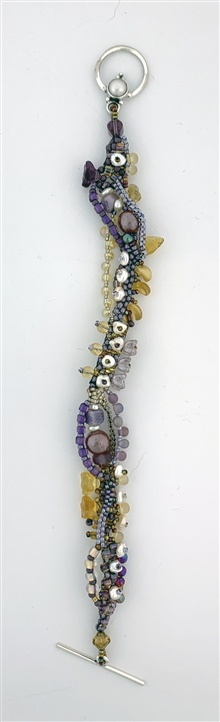 Freeform purple and ochre bracelet