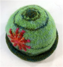 Green Hat with Flower
