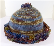 Blue and brown hat